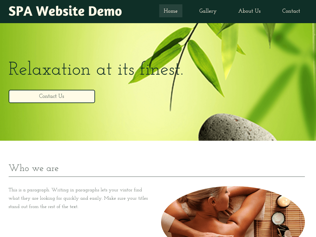Spa Website Demo